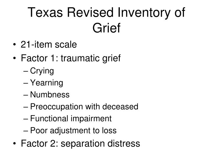 Texas Revised Inventory of Grief