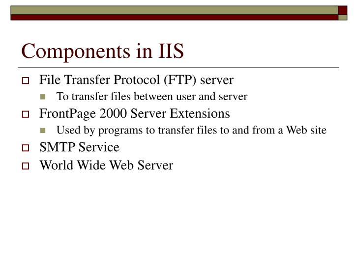 Components in IIS