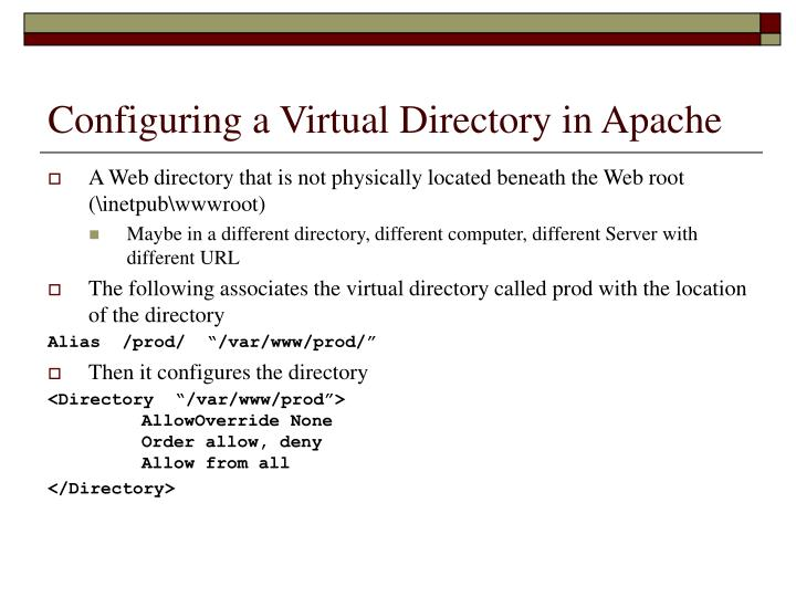 Configuring a Virtual Directory in Apache