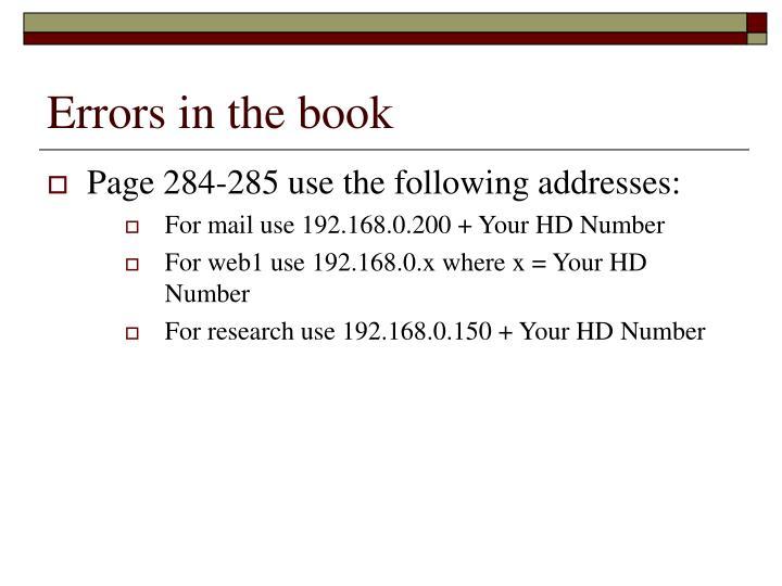 Errors in the book