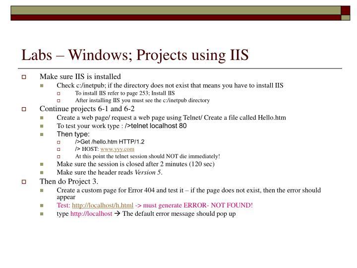 Labs – Windows; Projects using IIS