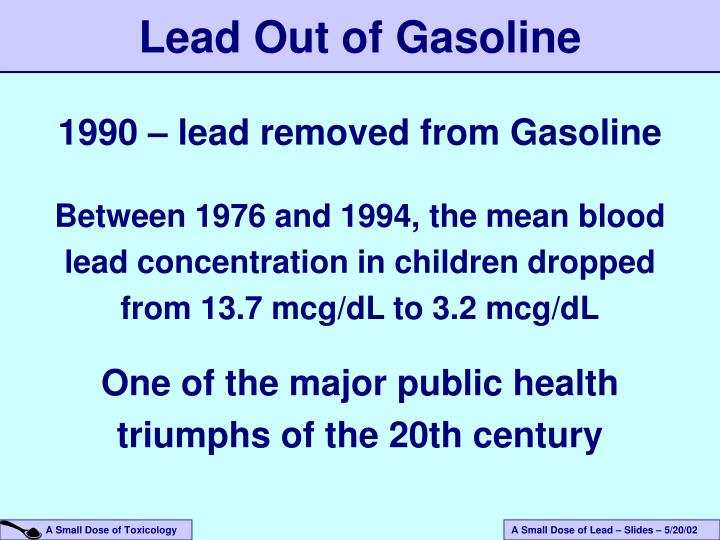 Lead Out of Gasoline