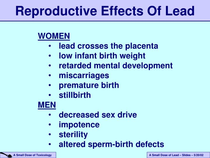 Reproductive Effects Of Lead