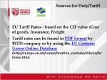 sources for duty tariff