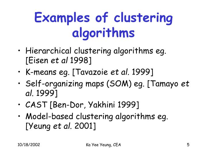 Examples of clustering algorithms