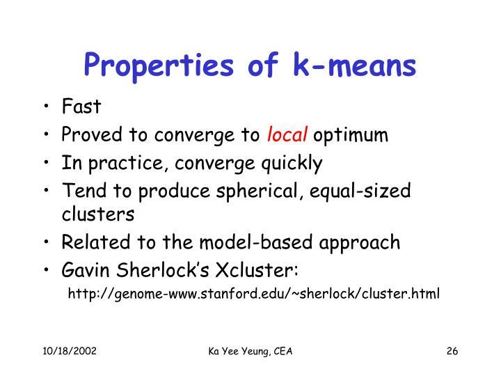 Properties of k-means