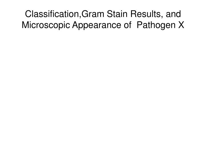 Classification,Gram Stain Results, and Microscopic Appearance of  Pathogen X