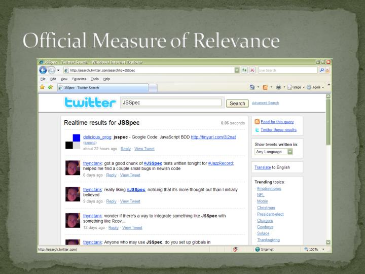 Official Measure of Relevance