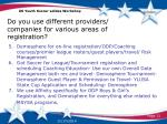 do you use different providers companies for various areas of registration