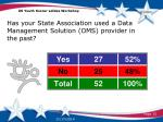 has your state association used a data management solution oms provider in the past