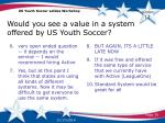 would you see a value in a system offered by us youth soccer1