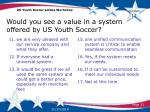 would you see a value in a system offered by us youth soccer2
