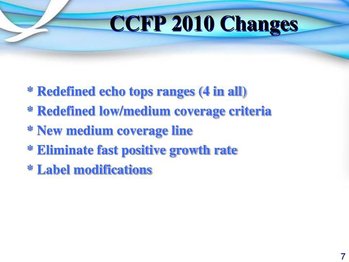 CCFP 2010 Changes