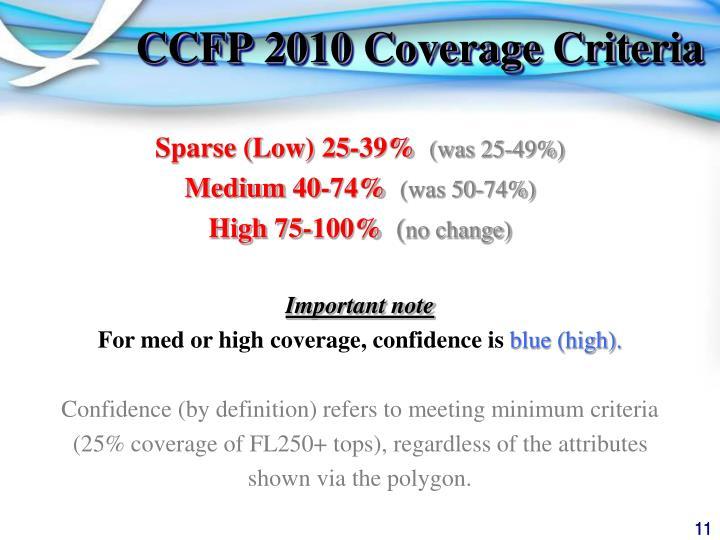 CCFP 2010 Coverage Criteria