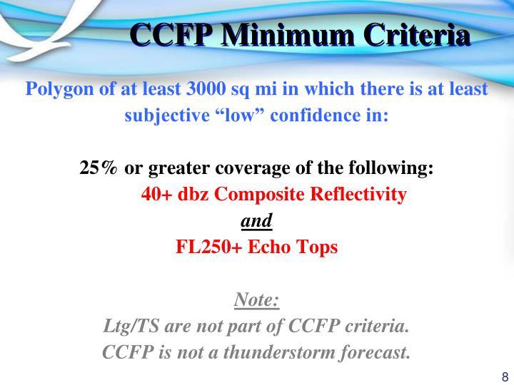 CCFP Minimum Criteria