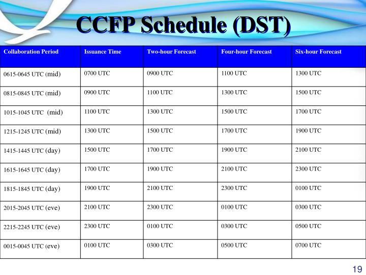 CCFP Schedule (DST)