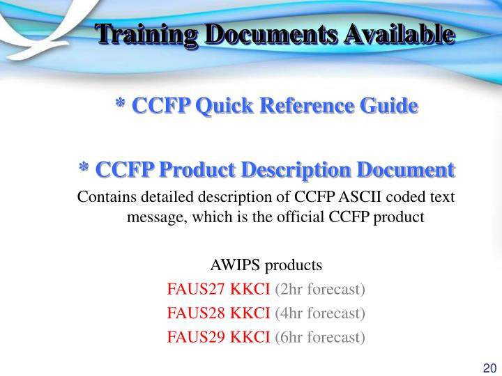 Training Documents Available