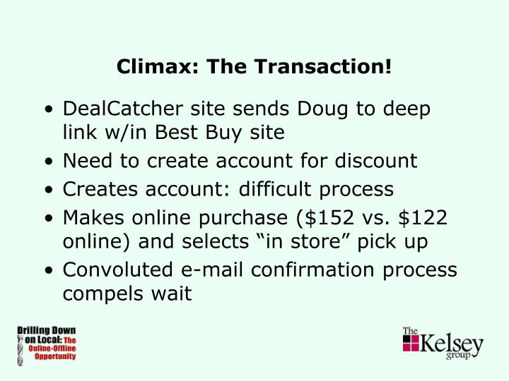 Climax: The Transaction!