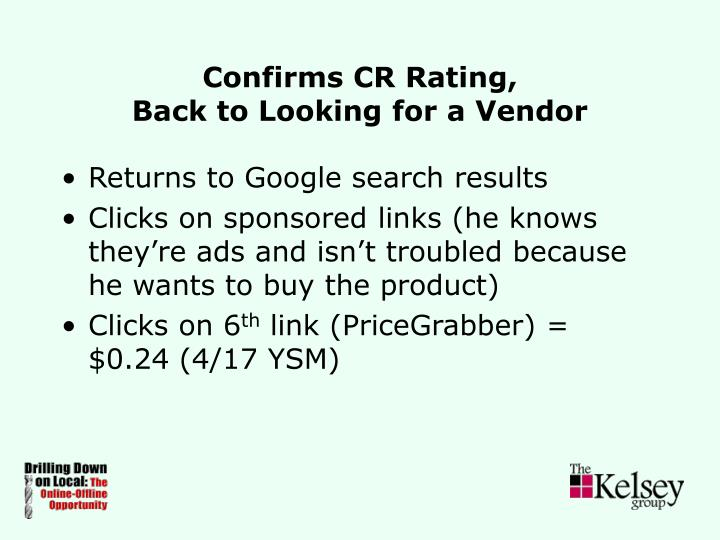 Confirms CR Rating,