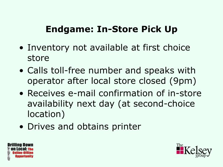 Endgame: In-Store Pick Up