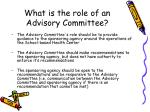 what is the role of an advisory committee