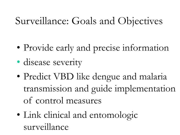 Surveillance: Goals and Objectives