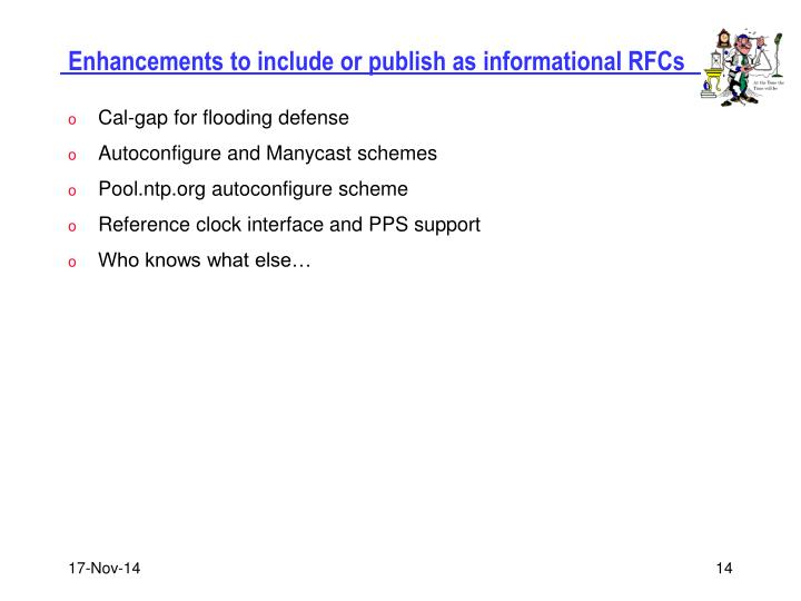 Enhancements to include or publish as informational RFCs