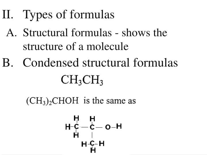 II. Types of formulas