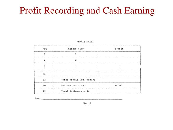 Profit Recording and Cash Earning