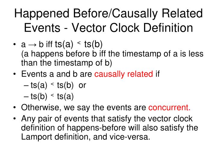 Happened Before/Causally Related Events - Vector Clock Definition