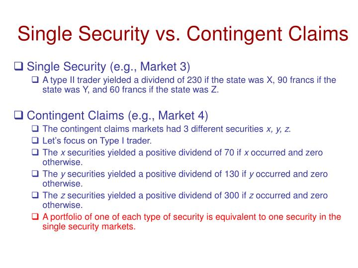 Single Security vs. Contingent Claims