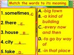 match the words to its meaning