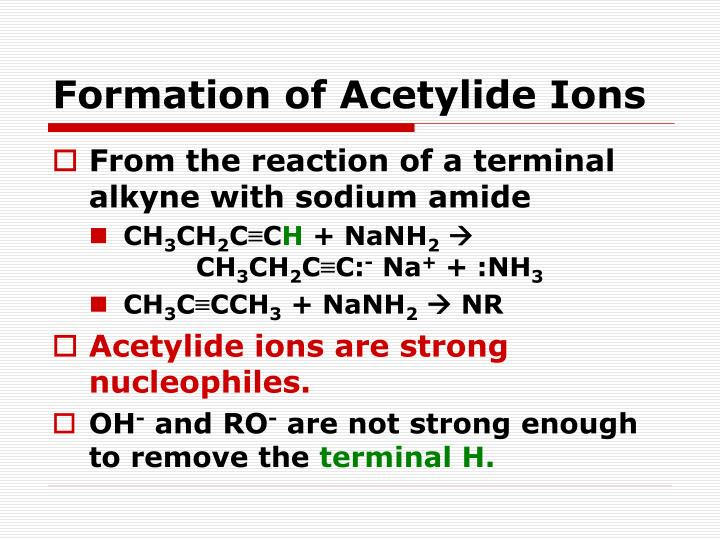 Formation of Acetylide Ions