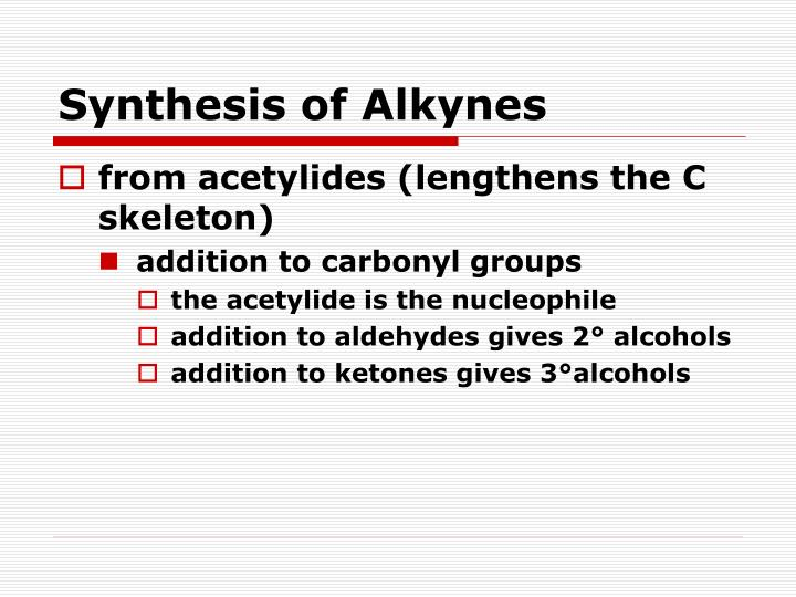 Synthesis of Alkynes