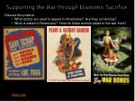 supporting the war through economic sacrifice