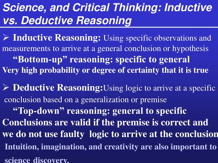 Science, and Critical Thinking: Inductive  vs. Deductive Reasoning