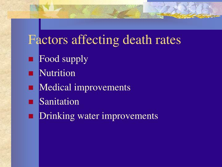 Factors affecting death rates