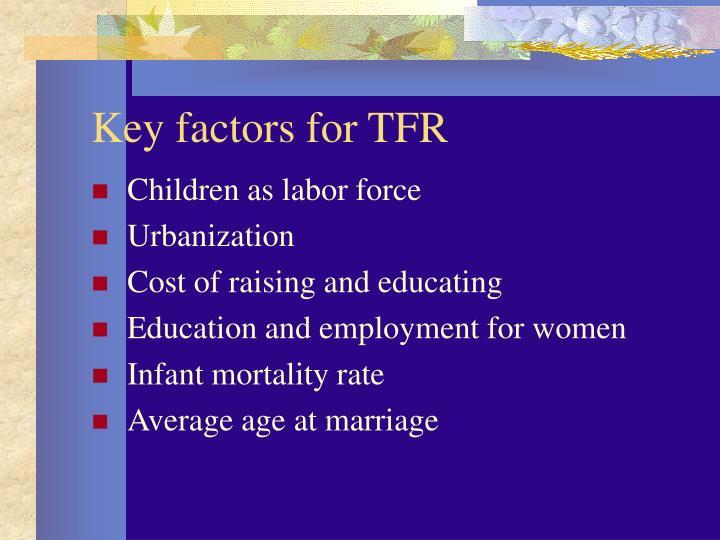 Key factors for TFR