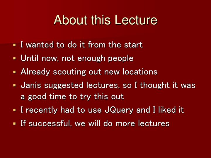 About this Lecture