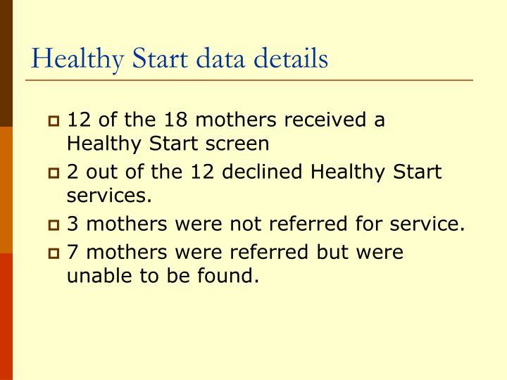 Healthy Start data details