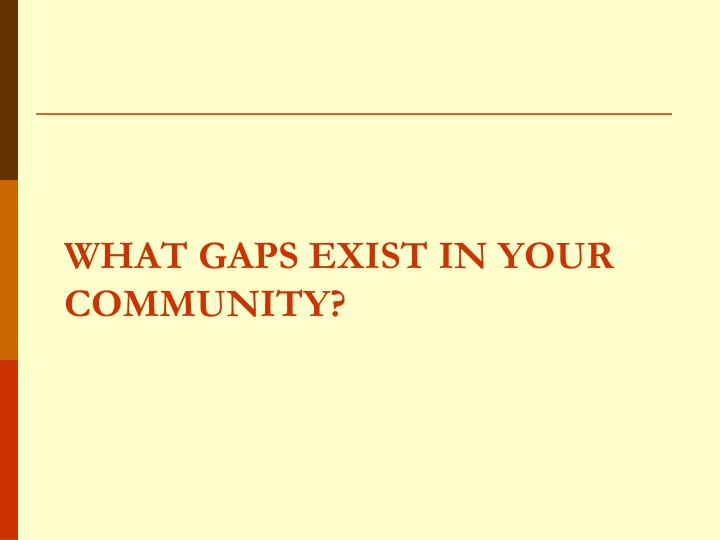 What Gaps Exist in Your Community?