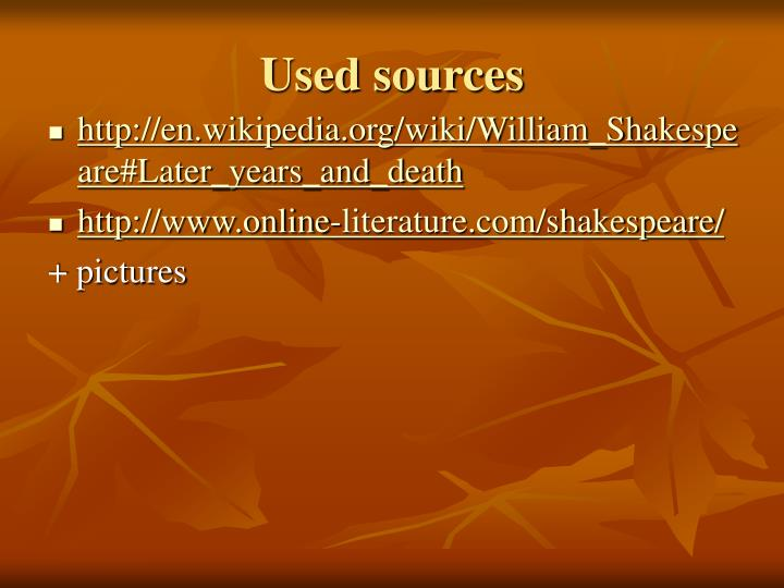 Used sources