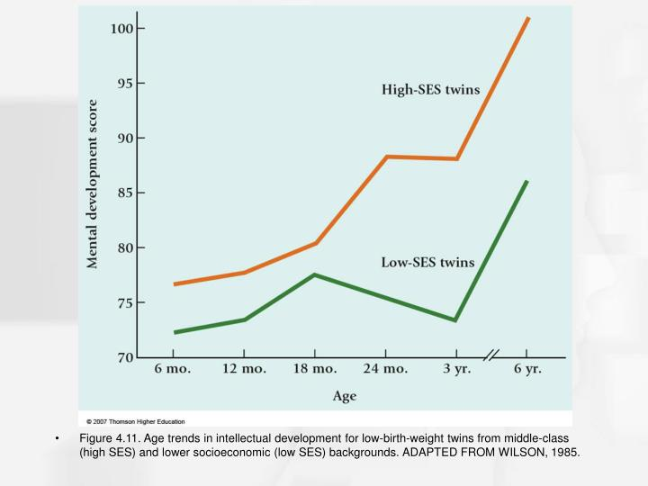 Figure 4.11. Age trends in intellectual development for low-birth-weight twins from middle-class (high SES) and lower socioeconomic (low SES) backgrounds. ADAPTED FROM WILSON, 1985.