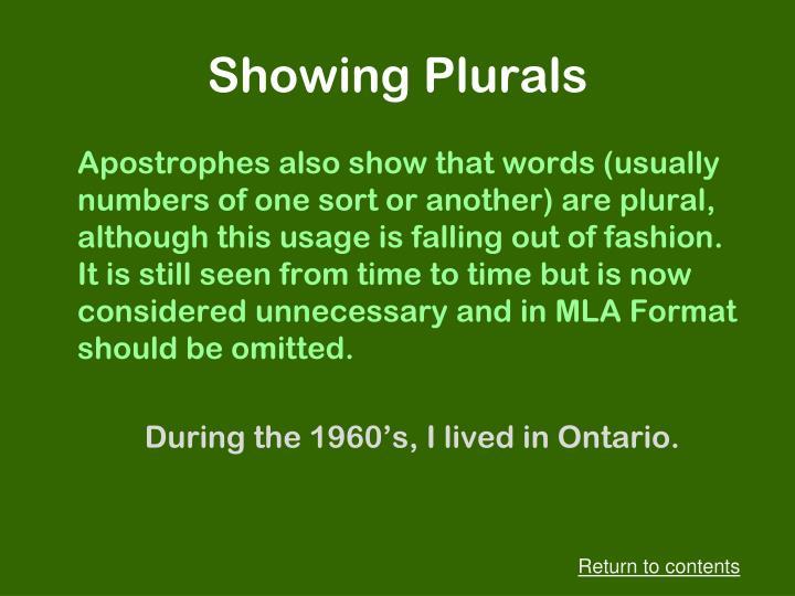 Showing Plurals