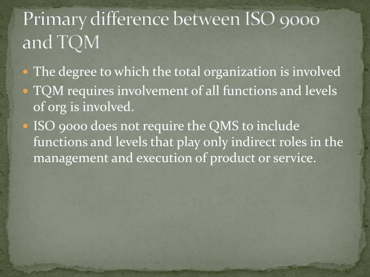 Primary difference between ISO 9000 and TQM