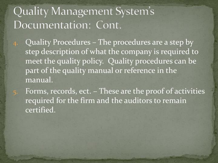 Quality Management System's Documentation:  Cont.
