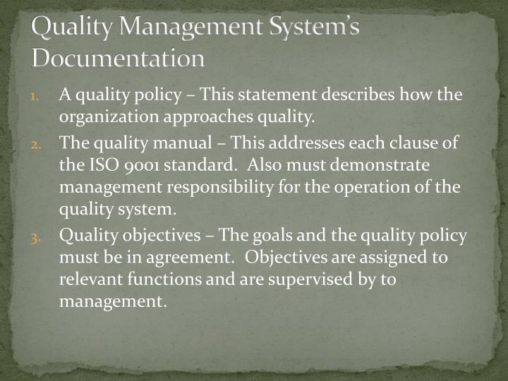 Quality Management System's Documentation