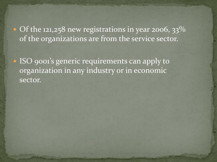 Of the 121,258 new registrations in year 2006, 33% of the organizations are from the service sector.