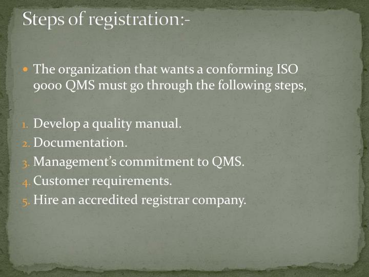 Steps of registration:-