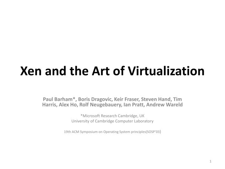 xen and the art of virtualization n.